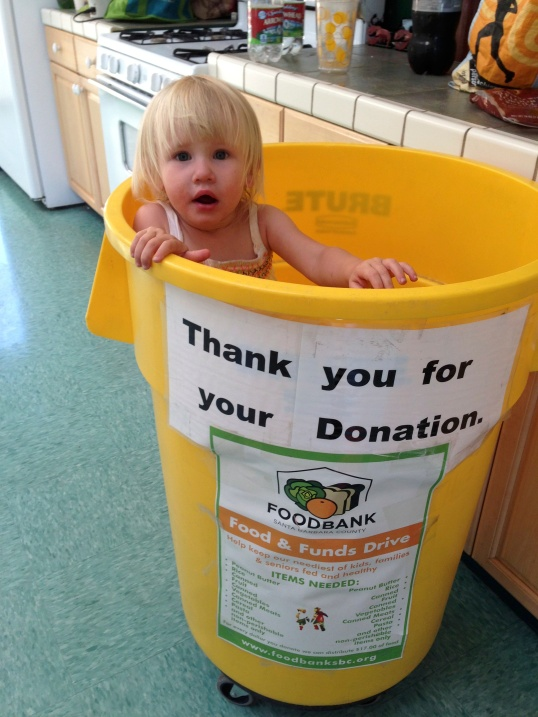 Two years old and already shilling for the  Foodbank. Has the father no shame?
