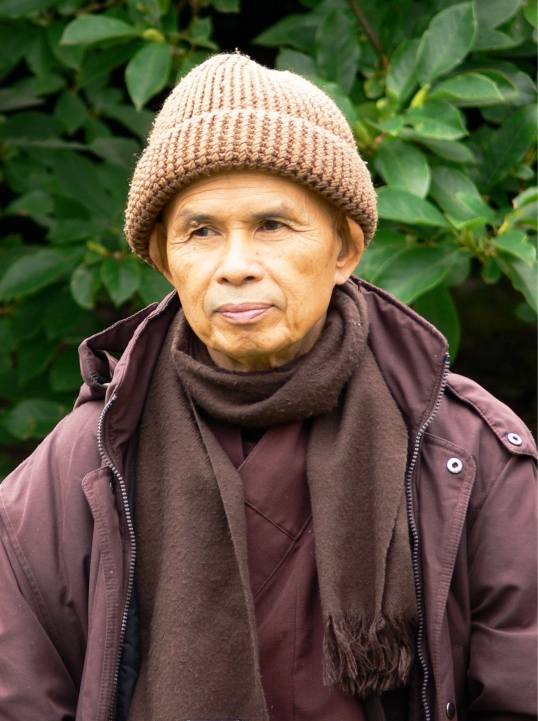 "Thich Nhat Hanh rocks the wooly hat. ""You think this is a Gap ad? Let's talk about the gap between happiness and forgetfulness???"